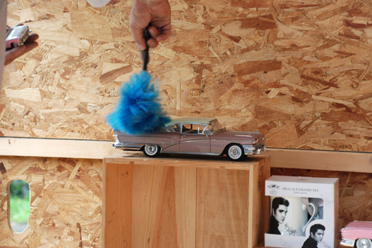 dusting the cars